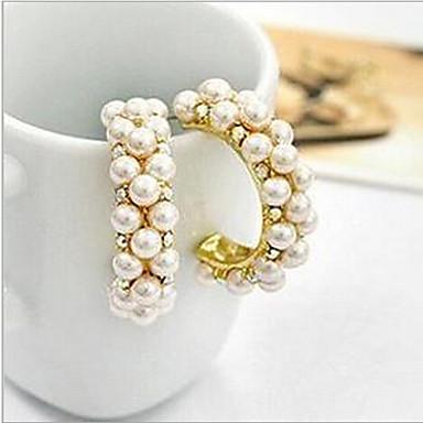 Damen Ohrstecker Kreolen Luxus Perle Künstliche Perle Kubikzirkonia Diamantimitate Aleación Kreisform Schmuck Modeschmuck