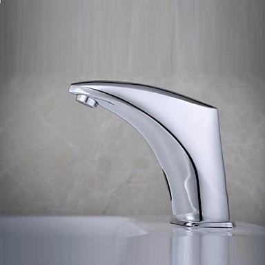 Moderna Conjunto Central Sensor Válvula Solenóide Uma Abertura Mãos livres Uma Abertura Cromado, Torneira pia do banheiro