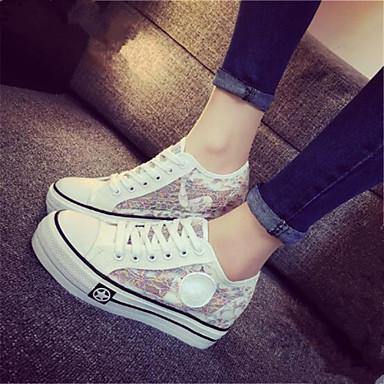 패션 스니커즈-캐쥬얼-여성의 신발-둥근 앞코-패브릭-플랫-블랙 / 퍼플 / 화이트