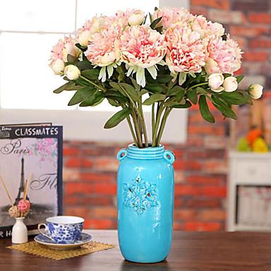 Kunstige blomster 1 Gren Pastorale Stilen Peoner Bordblomst