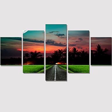 Romântico / Paisagem / Moderno Impressão em tela 5 Painéis Pronto para pendurar , Horizontal