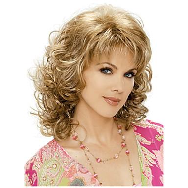 nye ankomst kvinne gyllengul middels lang krøllete hår varme - motstandsdyktig fiber kvalitetssikring rask levering