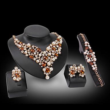 Damen Synthetischer Diamant Schmuck-Set - 18K vergoldet, Perle, vergoldet Liebe Luxus Einschließen Blau / Golden Für Hochzeit / Party / Diamantimitate