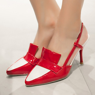 נעלי נשים-בלרינה\עקבים-עור פטנט / דמוי עור-עקבים / רצועה אחורית / שפיץ-שחור / ורוד / אדום / לבן / Almond-משרד ועבודה / שמלה / מסיבה וערב-