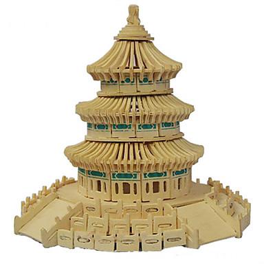 פאזלים פאזלים3D פאזלים מעץ אבני בניין צעצועי DIY ארכיטקטורה סינית עץ