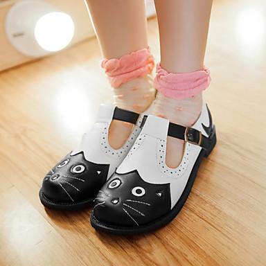 Tasapohjakengät-Tasapohja-Naisten kengät-Tekonahka-Musta-Ulkoilu / Puku / Rento-Pyöreäkärkiset