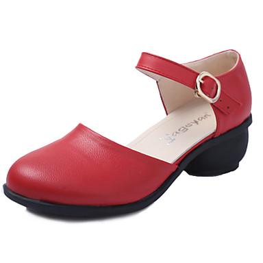 Dame Moderne sko Lær Sandaler Spenne Kubansk hæl Kan ikke spesialtilpasses Dansesko Hvit / Rød / Brun