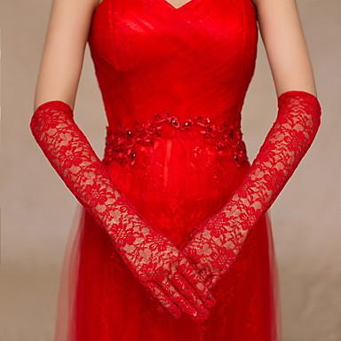 Spitze / Baumwolle Handgelenk-Länge / Ellenbogen Länge Handschuh Charme / Stilvoll / Brauthandschuhe With Stickerei / Einfarbig