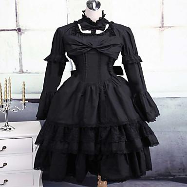 한 조각/드레스 고딕 로리타 클래식/전통적 롤리타 Steampunk® 코스프레 로리타 드레스 솔리드 긴 소매 짧은 길이 드레스 에 대한 레이스 면