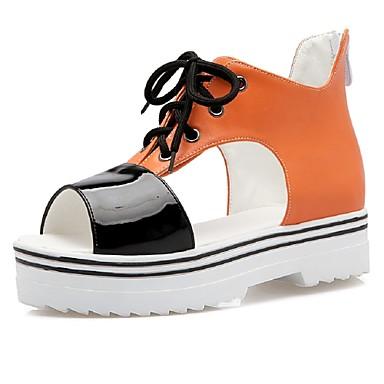 נשים נעליים דמוי עור אביב קיץ פלטפורמה רוכסן שרוכים עבור קזו'אל שמלה מסיבה וערב לבן כתום ורוד