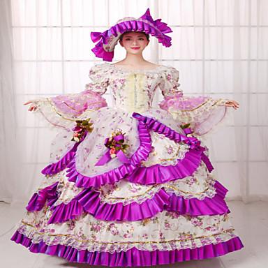 Viktorianisch Rokoko Kostüm Damen Kleid Maskerade Party Kostüme Vintage Cosplay Spitze Seide Organza Leinen Satin Langarm Normallänge