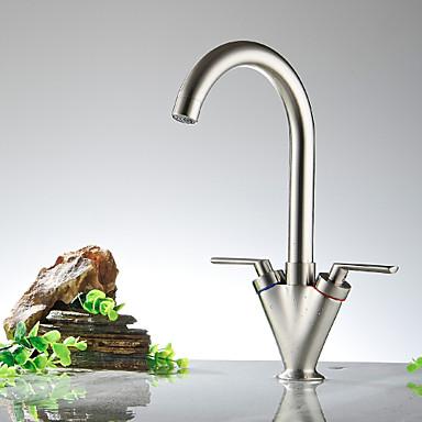 Bar / Prep 3-Loch-Armatur Keramisches Ventil Zwei Griffe Ein Loch Nickel poliert, Armatur für die Küche