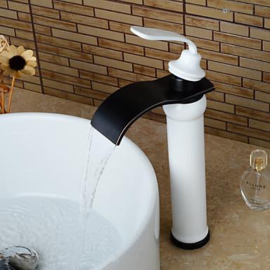Moderna Pia Cascata Válvula Cerâmica Uma Abertura Monocomando e Uma Abertura Bronze Polido a Óleo , Torneira pia do banheiro