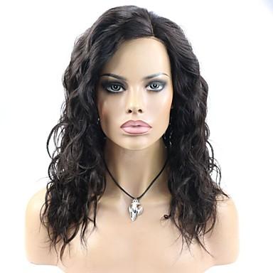 Naisten Aitohiusperuukit verkolla Aidot hiukset Full Lace Lace Front Liimaton puoliverkko 130% 150% Tiheys Syvä laine Peruukki Jet Black