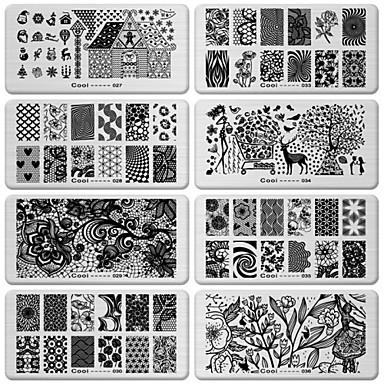 6kpl diy kynsikoristeet kuva musta pitsi kukka suunnittelutyökalu laitteet leima leimaamalla levyt manikyyri mallin