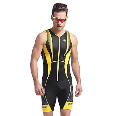 Nuckily Herrn Kurzarm Triathlonanzug - Gelb Geometrisch Fahhrad Anatomisches Design, UV-resistant, Atmungsaktiv, Frühling Sommer,