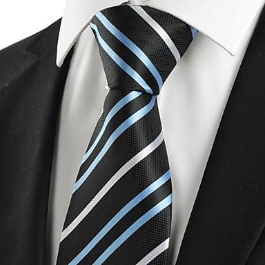 עניבה-פסים(שחור / כחול,פוליאסטר)