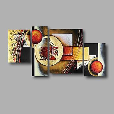 Hang malte oljemaleri Håndmalte - Abstrakt Moderne Inkluder indre ramme / Fire Paneler / Stretched Canvas