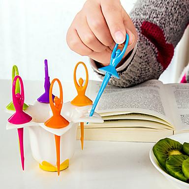6 stk danser jente frukt gaffel kreative matlaging verktøy hjem dekorasjon
