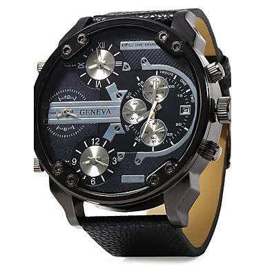Pánské Vojenské hodinky Náramkové hodinky Křemenný Kůže Černá Hodinky s dvojitým časem Hodinky s trojitým časem Analogové Luxus - Oranžová Červená Modrá Jeden rok Životnost baterie / SSUO LR626