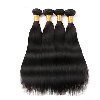 Натуральные волосы Бразильские волосы Человека ткет Волосы Прямые Наращивание волос 4 предмета Черный как смоль