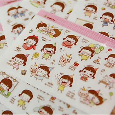 1pc DIYCute Karikatur Kawaii Aufkleber reizend momo Mädchenaufkleber für Tagebuch Scrapbooking Mobiltelefondekoration (Stil random)