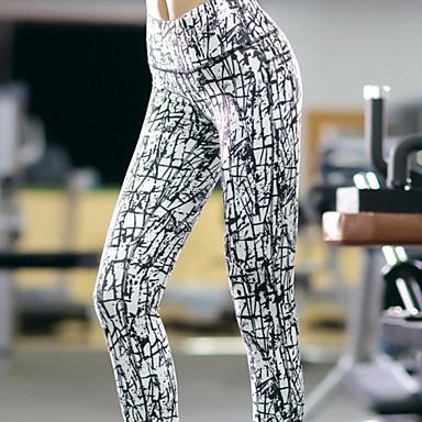 Mulheres Leggings de Corrida / Leggings de Ginástica - Branco Esportes Moderno Calças Ioga, Pilates, Exercício e Atividade Física Roupas Esportivas Secagem Rápida, Respirável, Compressão Com Stretch