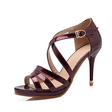 Feminino Sapatos Couro Envernizado Gliter Primavera Verão Sandálias Salto Agulha Presilha Para Casamento Social Festas & Noite Preto