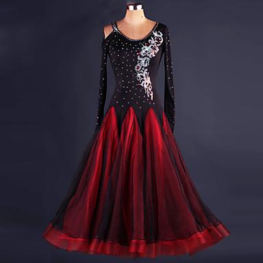 ボールルームダンス ドレス 女性用 性能 スパンデックス ドレープ ドレス / モダンダンス