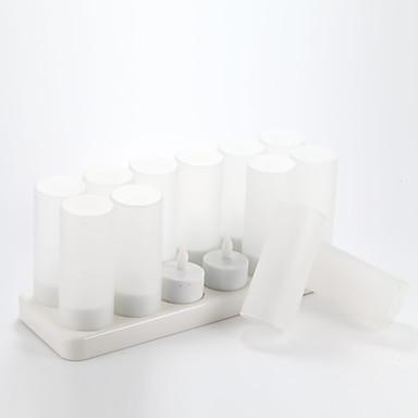 12 stk stearinlys form natt lamper med 12-port lader 2.4V 120mah 0,15 W