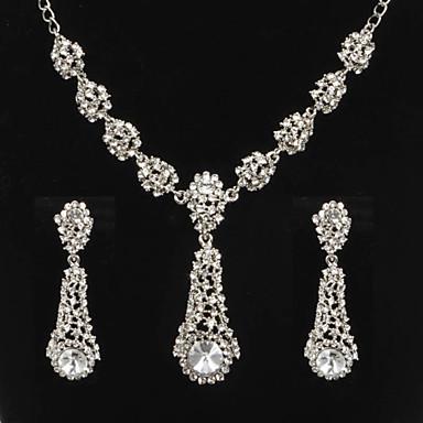 סט תכשיטים לנשים יום שנה / חתונה / ארוסים / יום הולדת / מתנה / יומי / אירוע מיוחד סטי תכשיטים סגסוגת קריסטל / ריינסטון שרשראות / עגילים