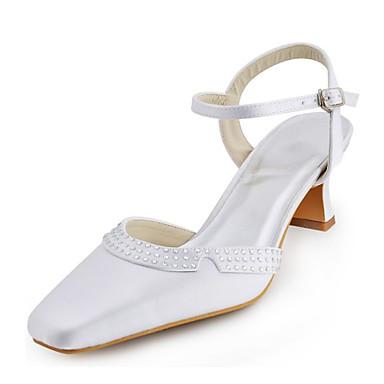 Damen Schuhe Stretch - Satin Frühling Sommer Blockabsatz Kristall Schnalle für Hochzeit Kleid Party & Festivität Weiß Silber Elfenbein