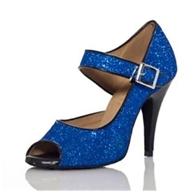 Mulheres Sapatos de Dança Latina / Sapatos de Salsa Glitter / Paetês Sandália / Salto Lantejoulas / Gliter com Brilho / Presilha Salto