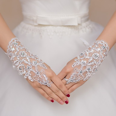 Até o Pulso Sem Dedos Luva Renda Luvas de Noiva Luvas de Festa Paetês Strass Renda