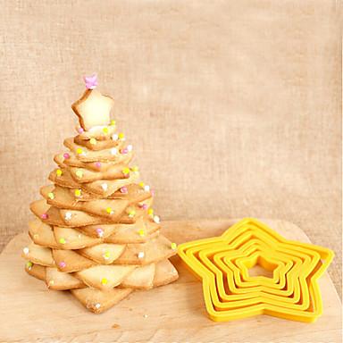 6 stk femstjerners kake mold cookie baking dø skjæreverktøy kjeks mold