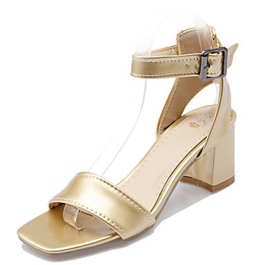 Damen Schuhe Kunstleder Sommer Fersenriemen Blockabsatz Weiß / Silber / Golden / Block Fersen Sandalen