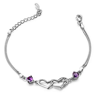 Damen Ketten- & Glieder-Armbänder - Sterling Silber, versilbert Herz, Liebe Armbänder Weiß / Purpur Für Hochzeit