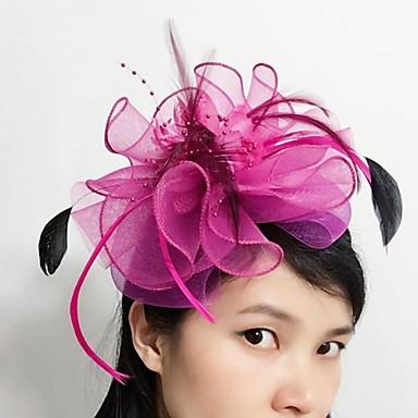 levne Ozdoby do vlasů na večírek-Tyl / Peří / Síť Fascinátory / Doplňky do vlasů s Květiny 1ks Svatební / Zvláštní příležitosti Přílba