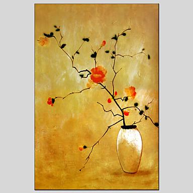 손으로 그린 정물 / 플로랄/보타니칼우아한 / 유럽 스타일 1판넬 캔버스 항으로 그린 유화 For 홈 장식