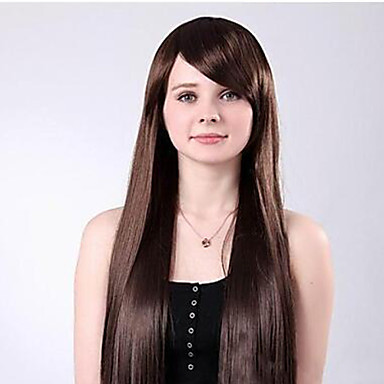 Women Synthetic Wig Long Dark Brown With Red With Bangs Costume Wigs Costume Wigs