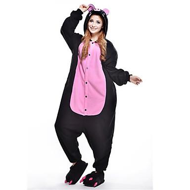 Erwachsene Kigurumi-Pyjamas Schweinchen / Schwein Pyjamas-Einteiler Polar-Fleece Schwarz Cosplay Für Herren und Damen Tiernachtwäsche Karikatur Fest / Feiertage Kostüme