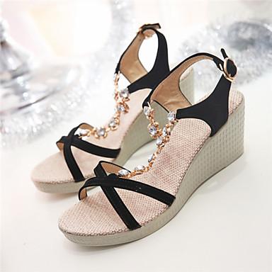 샌달-드레스-여성의 신발-웻지 / 열린 앞코-레더렛-웻지 굽-블랙 / 그린 / 베이지