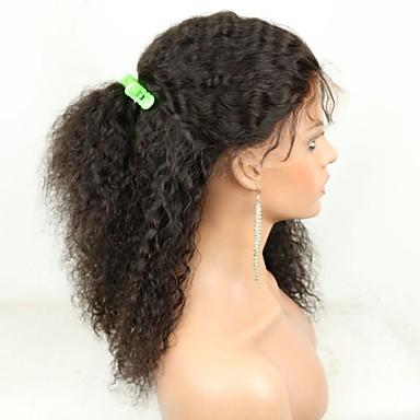 Emberi haj Csipke Paróka Göndör Csipke Csipke eleje Tüll homlokrész 100% kézi csomózású Afro-amerikai paróka Természetes hajszálvonal