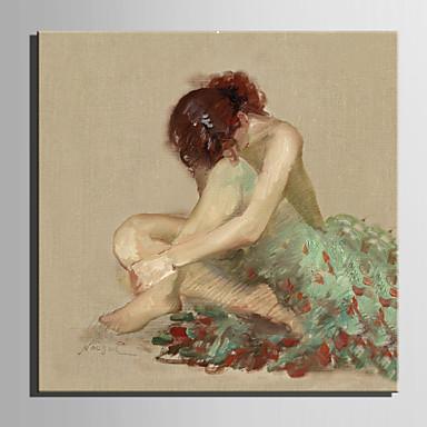 Pintura a Óleo Pintados à mão - Pessoas Estilo Europeu Tela de pintura