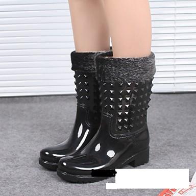 Ženske cipele-Salonke / štikle-Aktivnosti u prirodi-PVC-Kockasta potpetica-Kišne čizme-Crna / Kaki