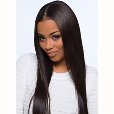 Piękna 20inch długo naturalny kolor jedwabiu prosto koronki włosy brazylijskich dziewiczych przodu peruka