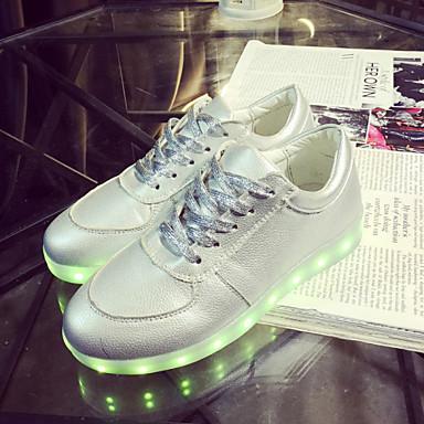 Homens / Mulheres Sapatos Courino Primavera / Verão / Outono Tênis com LED Sem Salto Cadarço Prata