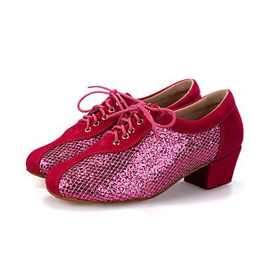 Damen Modern Beflockung Glitzer Sneaker Absätze Leistung Paillette Glitter Schnürsenkel Blockabsatz Pfirsich Schwarz Rot 2