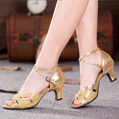 baratos Sapatos de Salsa-Mulheres Sapatos de Dança Glitter / Paetês / Sintético Balé / Sapatos de Dança Latina / Tênis de Dança Gliter com Brilho / Fru-Fru / Franzido Sandália / Salto / Têni Salto Cubano Não Personalizável