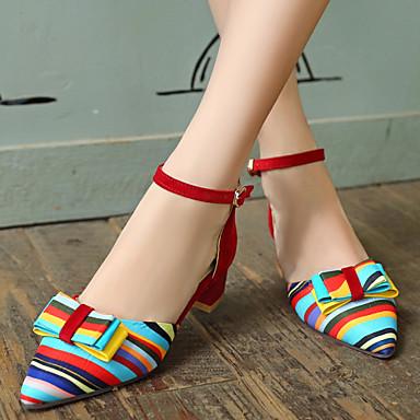 Žene Cipele Umjetna koža Proljeće Ljeto Kockasta potpetica Mašnica Kombinacija materijala za Vanjski Formalne prilike Crn Crvena Plava